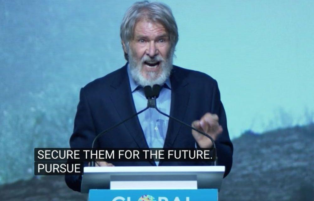 Lors d'un sommet sur le climat, l'acteur Harrison Ford pète un câble contre l'inaction en place. On adore.