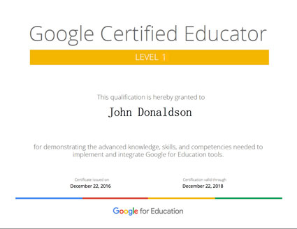 Google Certified Educator Level 1 Certificate