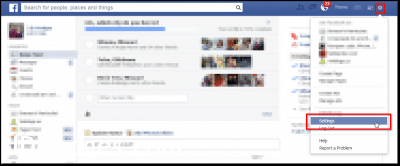 Click the 'gear' icon to access your Facebook Settings