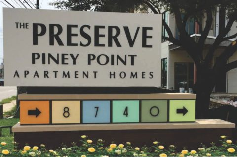 The Preserve Piney Point apartment ID sign