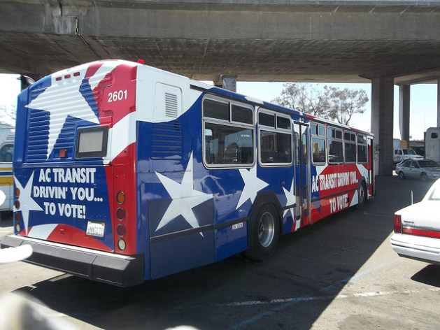 An AC Transit bus that helped deliver seniors to the polls in the 1990's,