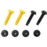 Motorcycle Fixing Kit Advertised on https://www.jdmplates.co.uk. This image is showing the items you will receive when purchasing; 2x yellow & black screws with 4x retaining nuts.