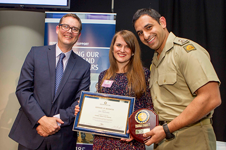 Lt. Samuel Abdelsayed receives the 'Employer Support Award - Medium Business' on behalf of JDS.