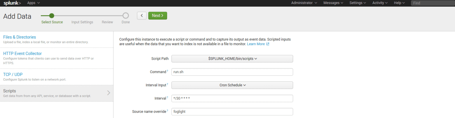 Figure 5: Configuring Splunk to run script to collect churn metrics