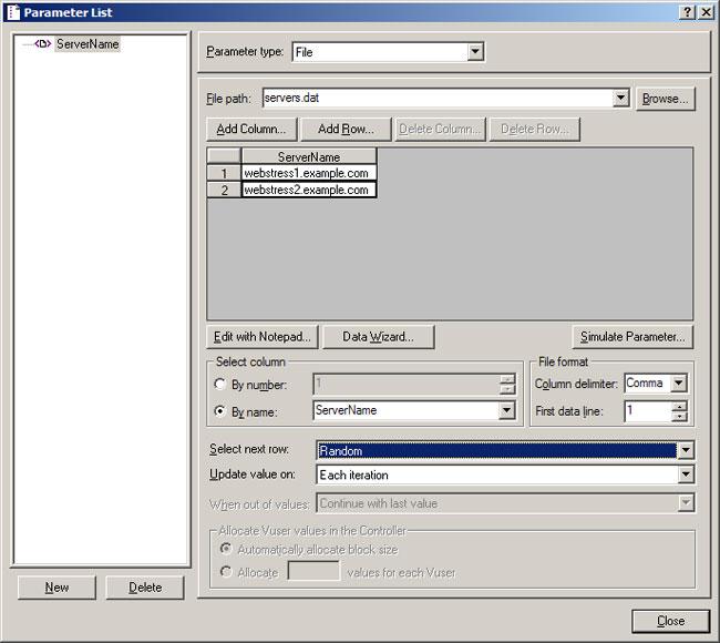 VuGen Parameter List showing parameter-based load balancing