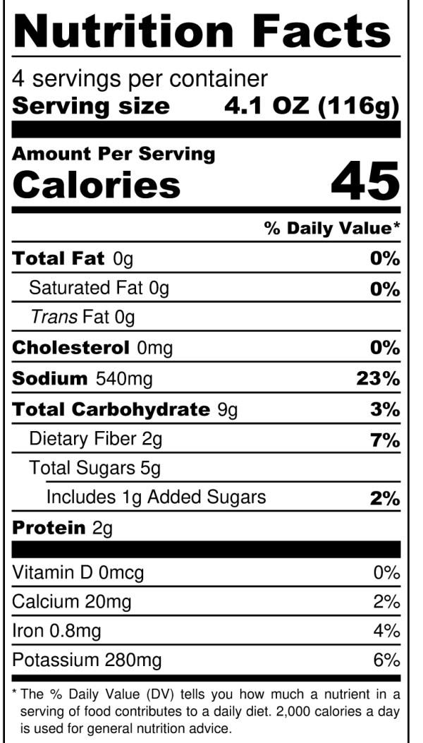 JD's Hot Honey Habanero - Nutrition Label