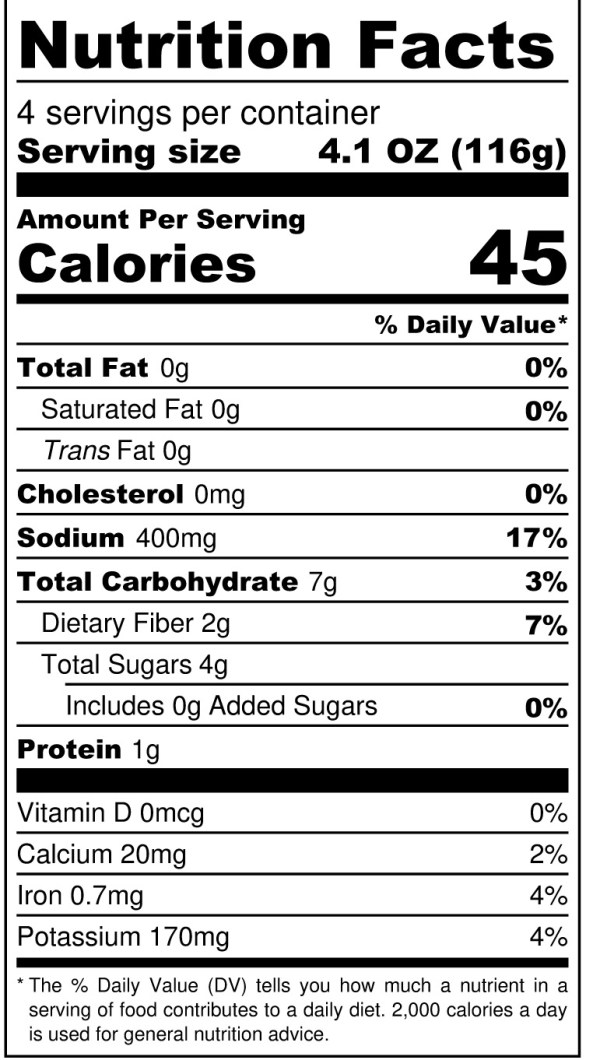 JD's Prickly Pear Tequila Enchilada Sauce - Nutrition Label