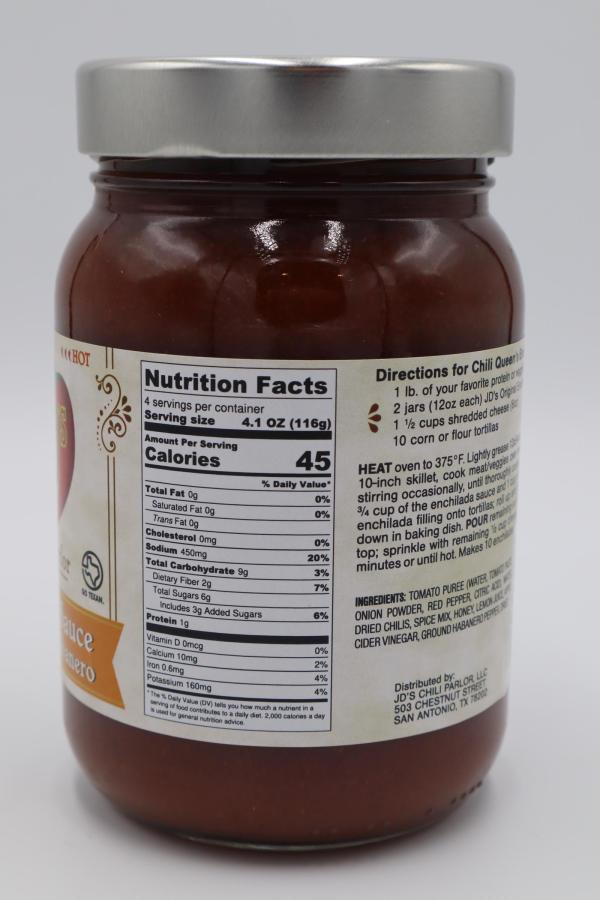 JD's Chili Parlor Honey Hot Habanero Enchilada Sauce