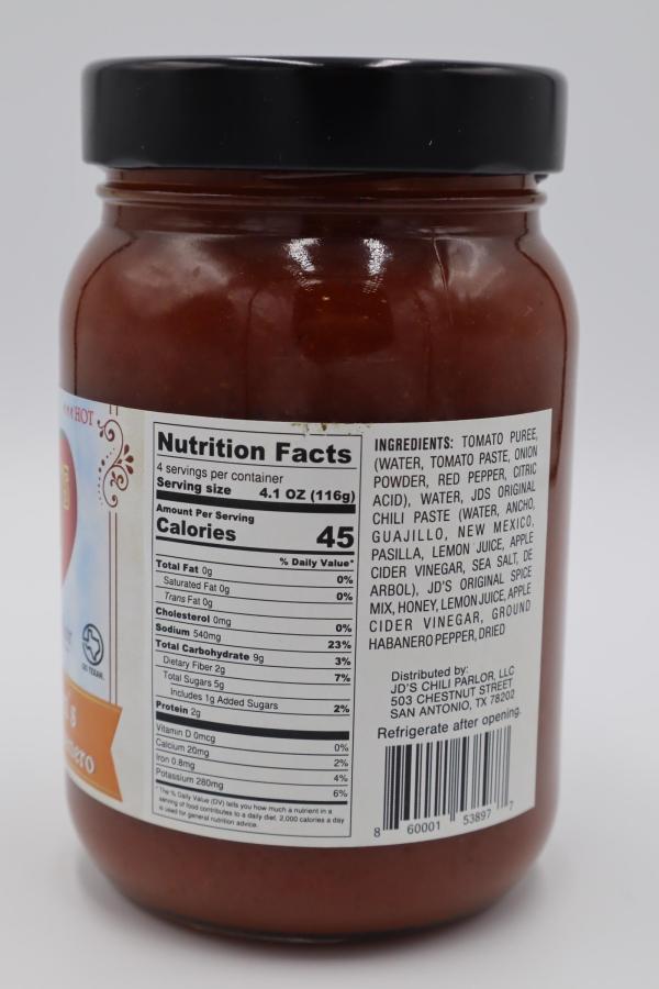 JD's Chili Parlor Honey Hot Habanero Chili Fixins