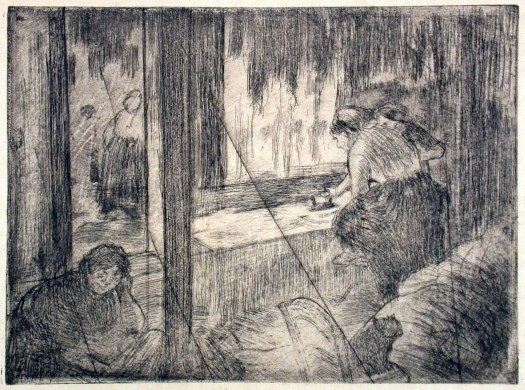 Degas The laundress, 1879-80. Etching on copper plate.