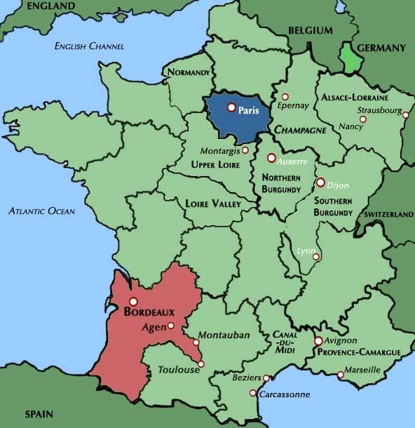 Map de la France avec Bordeaux en couleur.