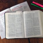 Bibles and pens for spiritual habits