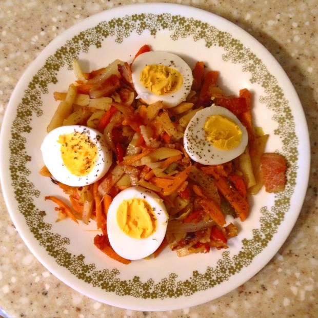 bacon, curry, vegetables, eggs, recipe
