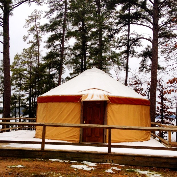 Snow covered yurt at Lake Degray State Park in Arkansas