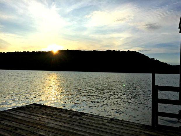 Sunrise over Beaver Lake in Northwest Arkansas from the dock