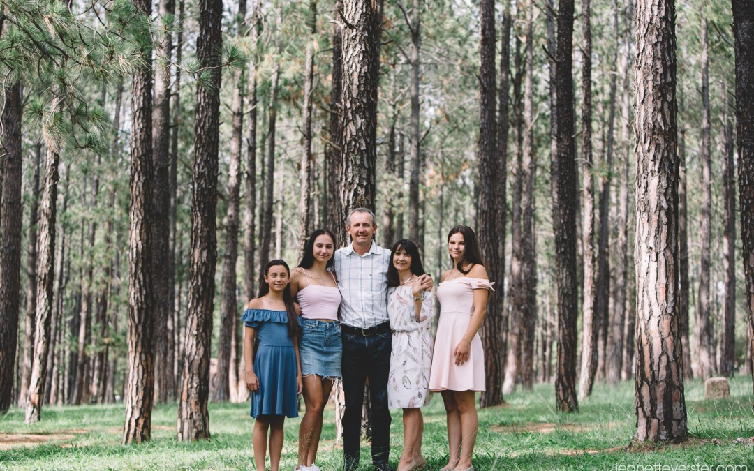 The Gledhill family photos in the pine forest