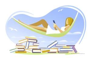 lesende Frau im Sommer