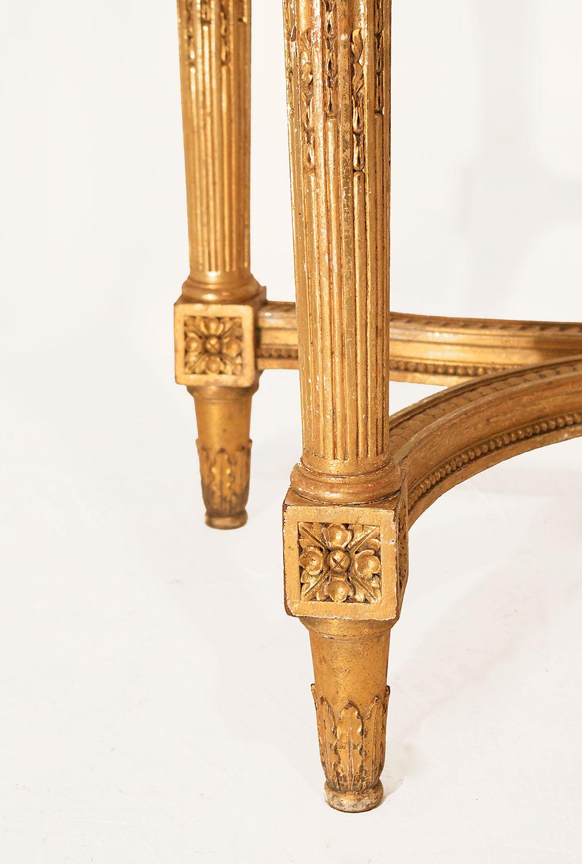 console style louis xvi en bois dore marbre breche grise xixeme siecle