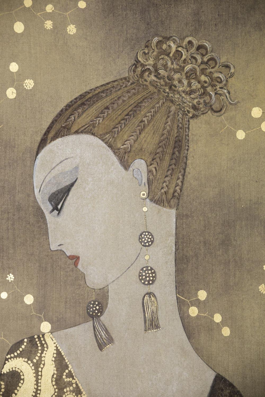 painted canvas art deco woman s portrait contemporary work