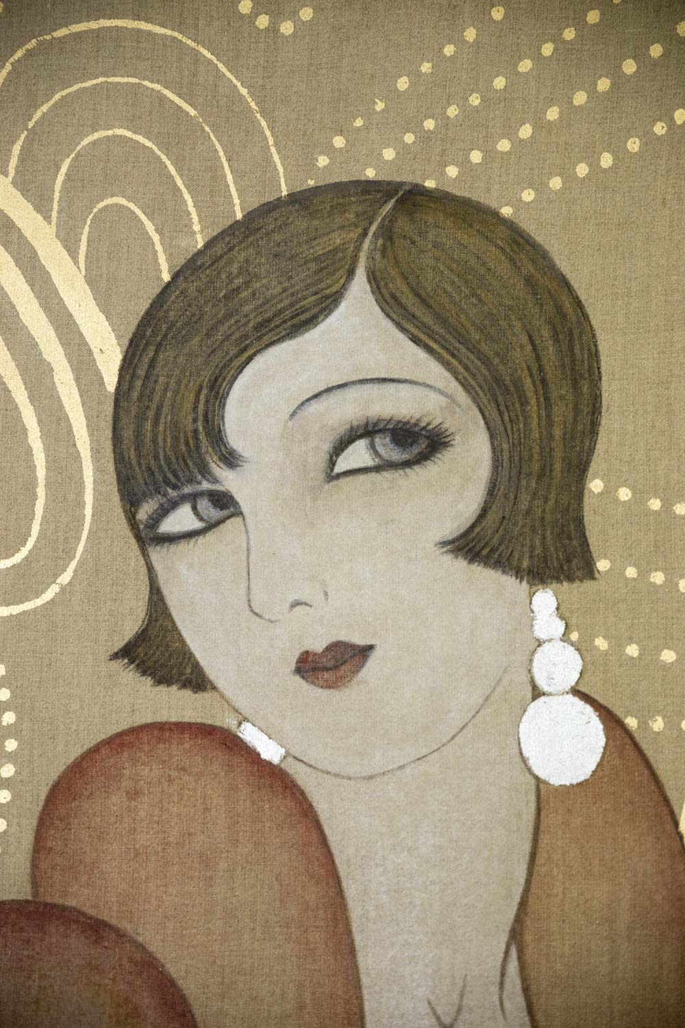 painted canvas art deco woman contemporary work