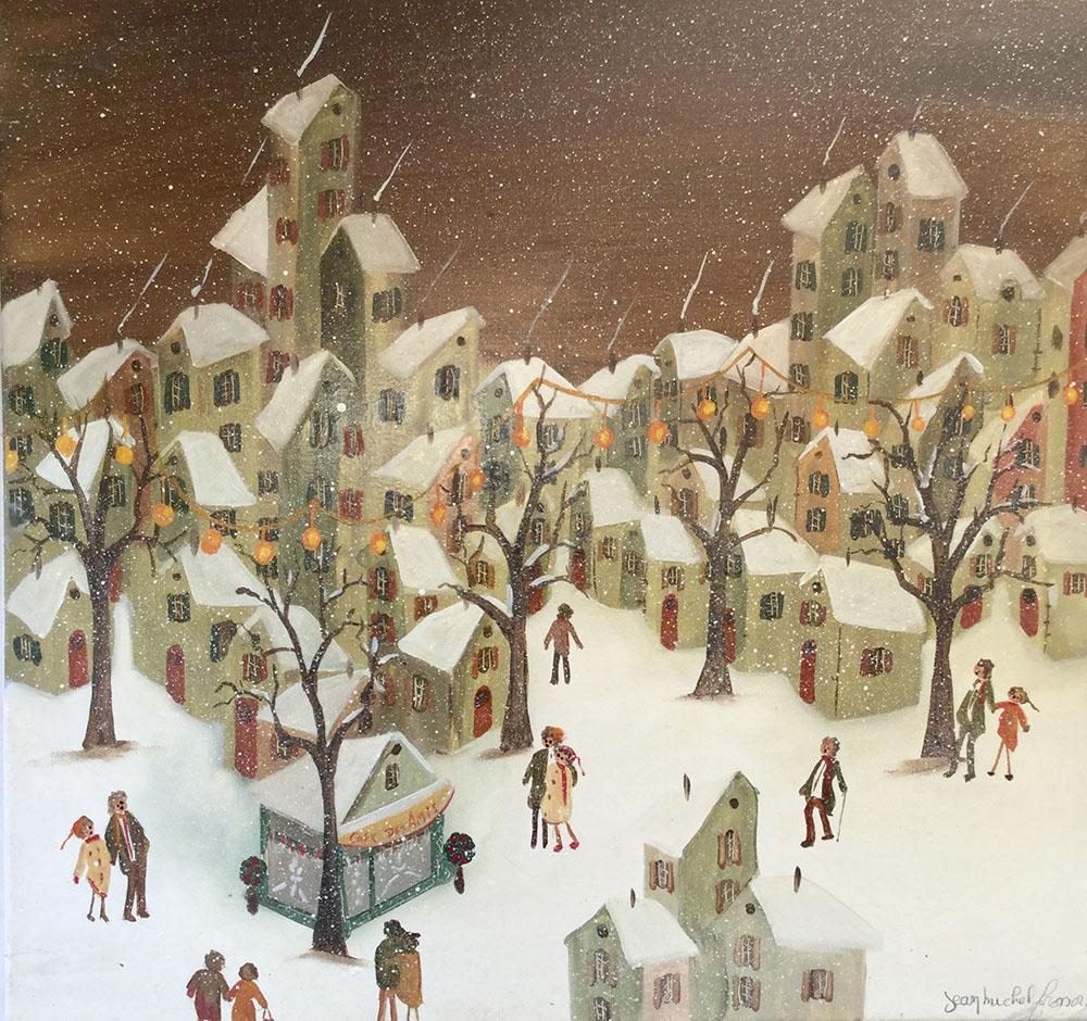Peinture naïve Scène de rue Neige