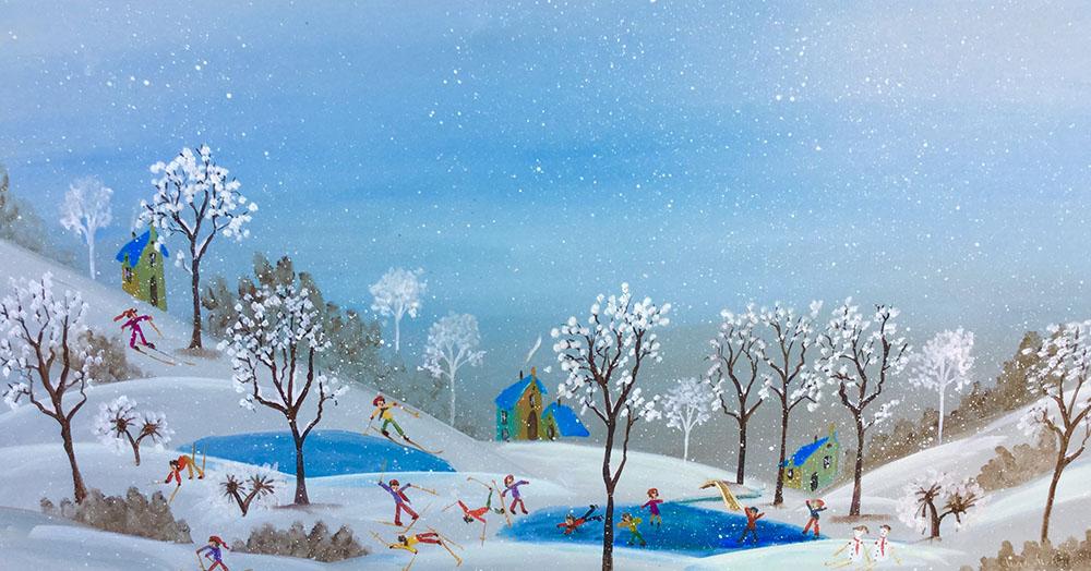 Tableau scène de neige et skieurs