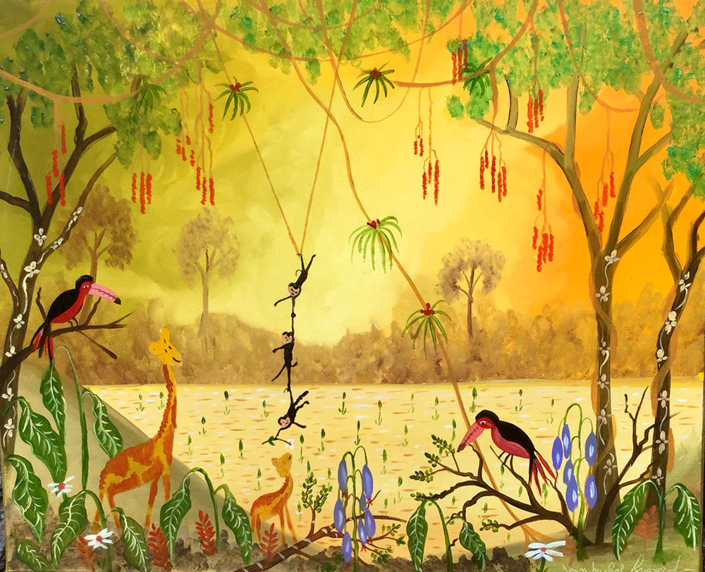 Tableau scène de jungle dans les jaunes