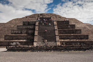 Visitors can climb the Pyramid of the Moon, though only to the platform that is halfway up. The steps in the center are incredibly steep, and very tall. Climbing on all fours seemed to be the best way for Dan and me to get up them.