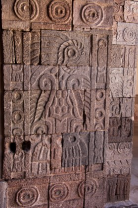 Here's a wider shot of the other side of the column. You can see Quetzalpapalotl as well as the other carved symbols around it.