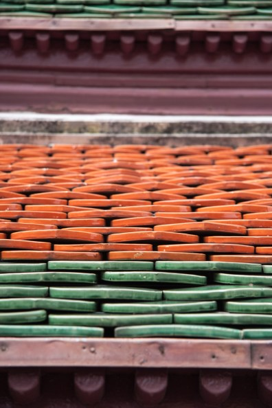 Green and orange roof tiles, Wat Phra Kaew, Bangkok, Thailand