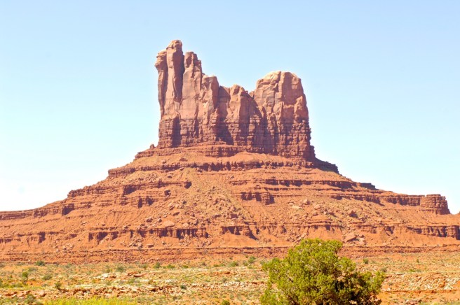 The famous red rock formations of Monument Valley in northern Arizona. Many classic westerns, such as John Ford's Stagecoach, were filmed here.