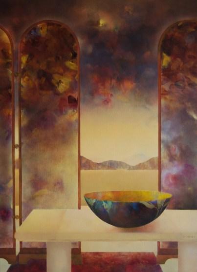 Intérieur au paravent (huile sur toile 100x73 cm)