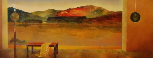 """Série """"Intérieurs"""": la montagne rouge (huile sur papier toilé marouflé sur bois)"""