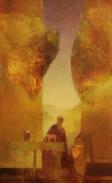 Les anges gardiens (huile sur papier toilé marouflé sur bois 25 x 15 cm)