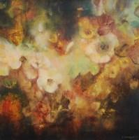 Jardin au bord de la nuit I (huile sur toile 40 x 40 cm)
