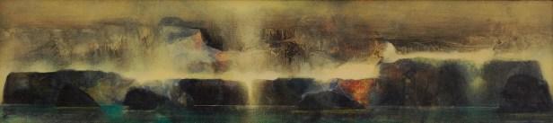 Traversée II (acrylique sur bois 16 x 65 cm)
