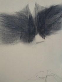 Visite II (crayon sur papier Ingres 32 x 24 cm)