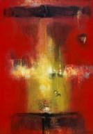 Petit temple rouge I (acrylique sur toile 55x 38 cm) 2016