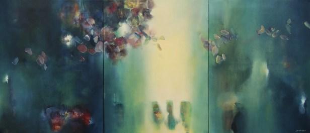 La première heure du jour (huile sur toile triptyque 70 x 168 cm) 2016