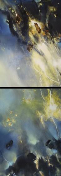 Visite (diptyque, acrylique sur toile 184 x 65 cm)