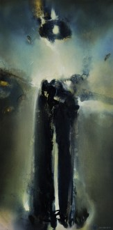Étreinte de nuit (Acrylique sur toile 100 x 50 cm) 2021