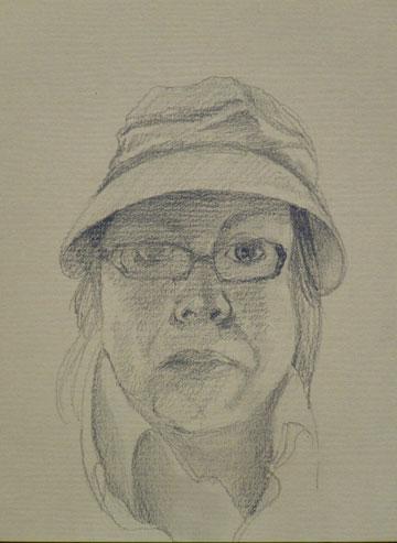 self portrait charcoal drawing