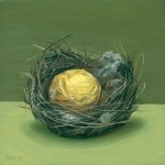 Nest with Ferrero Rocher, oil on panel, 6x6 in, Jean Reece Wilkey