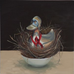 Nested Chrome, 12x12 in, oil on panel, Jean Reece Wilkey