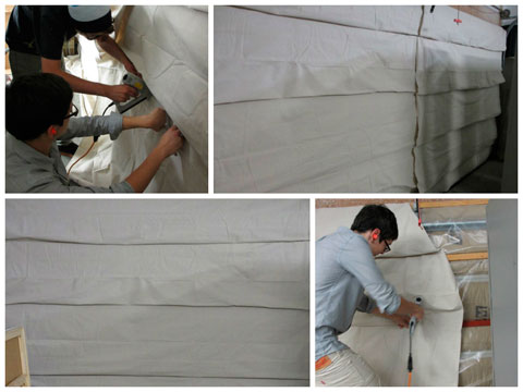 installation and finished 'curtain' over insulation.