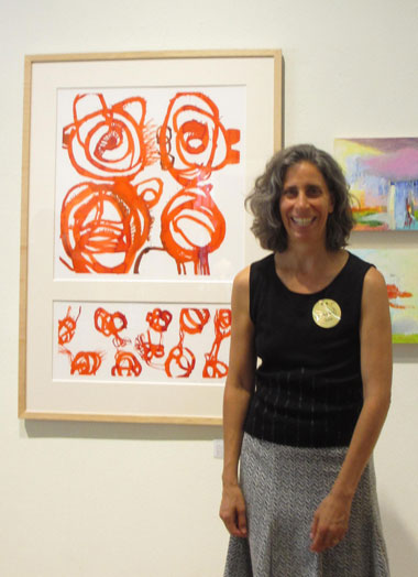 Robin Wiener Labe with her painting, Vermillion, pigmented inks on Coventry rag paper