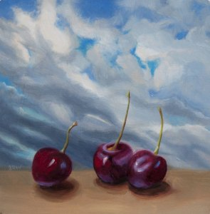 Three cherries with dark sky, oil on panel, 6x6 in
