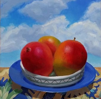 Summer Fete, oil painting, Jean Wilkey, oil on panel, 10x8 in