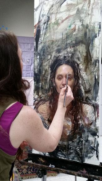 Rose Frantzen painting a portrait