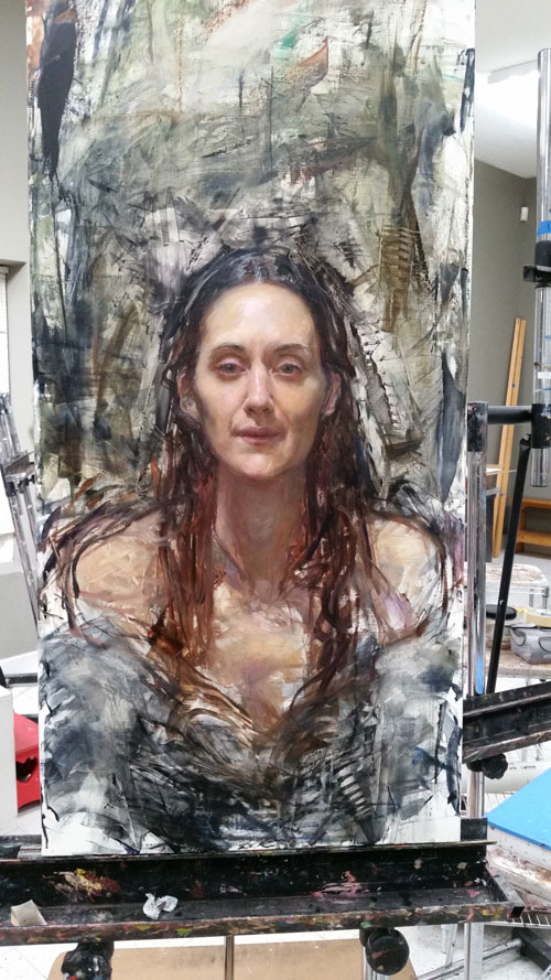 Later stage of Rose Franzten painting